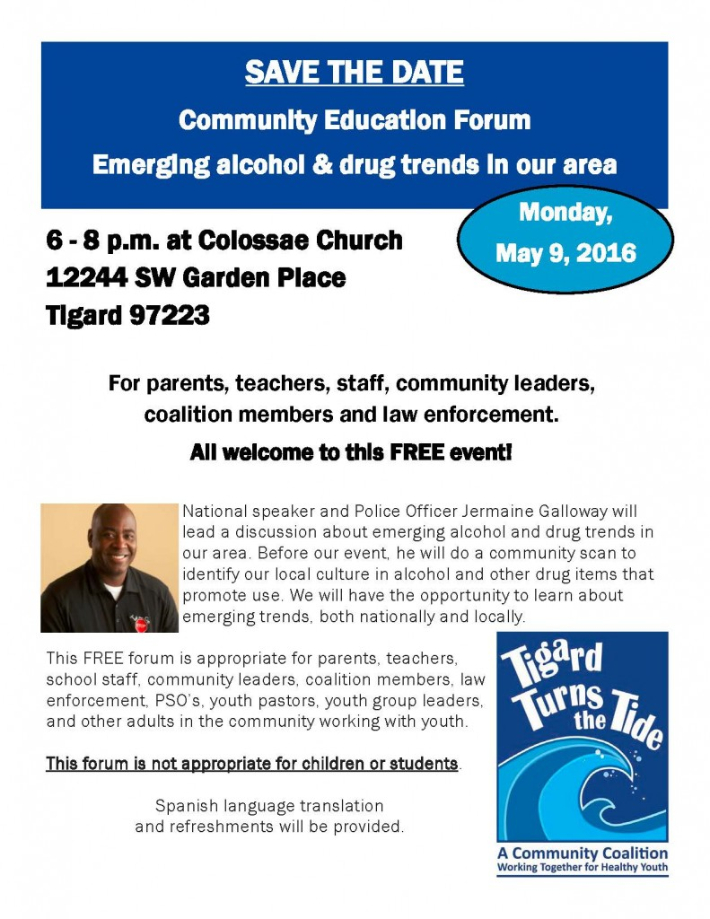 2016.05.09 Community Education Forum - Jermaine Galloway - Emerging Alcohol & Drug Trends